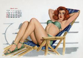 Pin up in bikini on a deckchair on a boat, tanning, from Esquire Girl calendar 1950