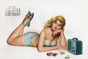 Pin up listening radio, from Esquire Girl calendar 1950