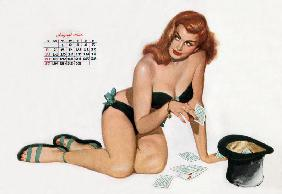 Pin up taking cards in a top hat, from Esquire Girl calendar 1950