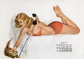Pin up with a cat playing with phone wire, from Esquire Girl calendar 1950