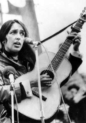 Protest Folk Singer Joan Baez performing in 1965