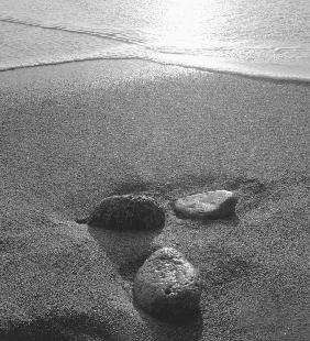 Pebbles on sand, Porbandar (b/w photo)