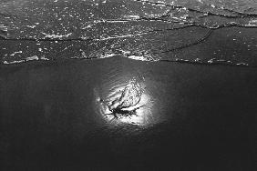 Reflection in sea water, Porbandar (b/w photo)