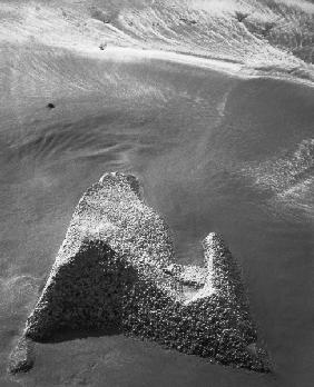 Rock on sand (b/w photo)