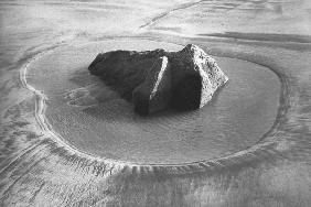 Rock on sand, Porbandar (b/w photo)