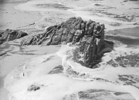 Rock on wet sand, Porbandar II (b/w photo)