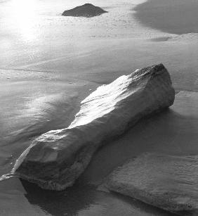 Rock, Porbandar (b/w photo)