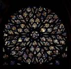 Rose window above the west door, with scenes depicting the story of the Apocalypse in 86 panels, 148