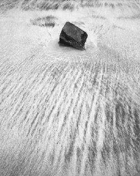 Stone on sand, Porbandar (b/w photo)
