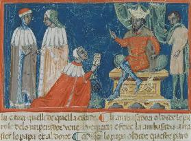 Codex Correr I 383 Emperor Frederick Barbarossa (c.1123-90) receiving the Venetian ambassadors, Vene 19th