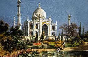 The Taj Mahal in Agra marble mausoleum built in 1632 - 1644 by moghul emperor Shah Jahan for his dea