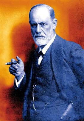 Austrian psychoanalyst Sigmund Freud , colourized document in 1921