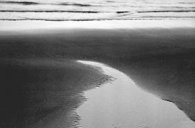 Water on sand (b/w photo)