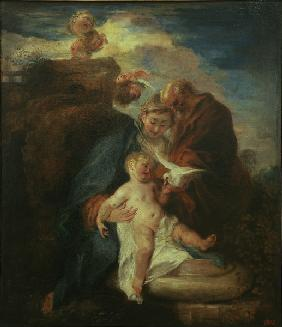 Watteau / Holy Family / Painting, c.1715