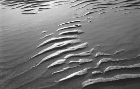 Wet sand, Porbandar (b/w photo)