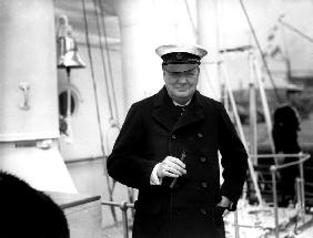 Winston Churchill receives royal fleet at Spithead on board HMS