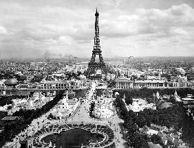 World fair in Paris in 1900 : Champs de Mars with Eiffel Tower in 1900
