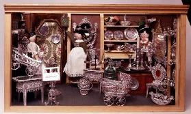 White metal doll's house furnishings, German, 20th century. Made by the firm Babette Schweizer, etab
