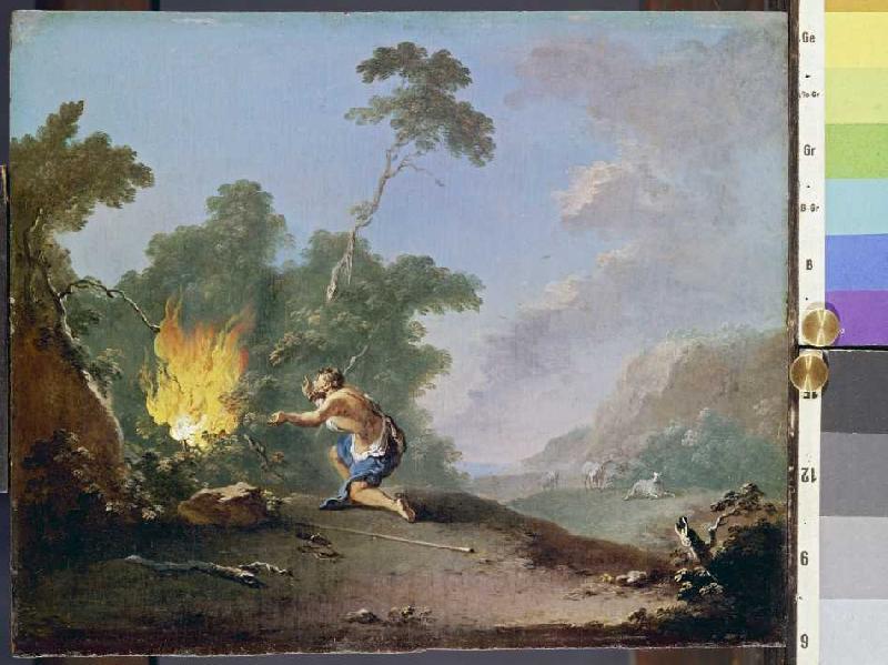 Moses vor dem brennenden Dornbusch - Norbert Grund als Kunstdruck ...