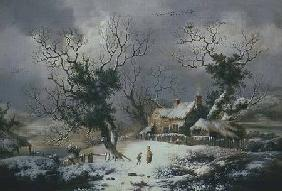 Winter Landscape with Woman and Boy