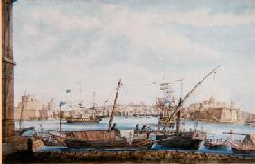 View of the Harbour of the Gallies from Valetta Side c.1800