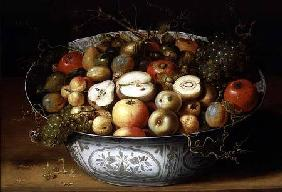 Still Life of Fruit in a Porcelain Bowl