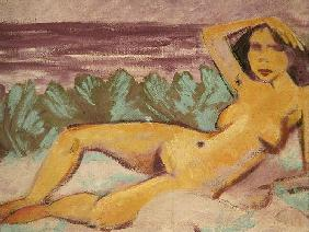 Reclining Nude, c.1914 (oil on canvas) (see 178118 for recto) 15th