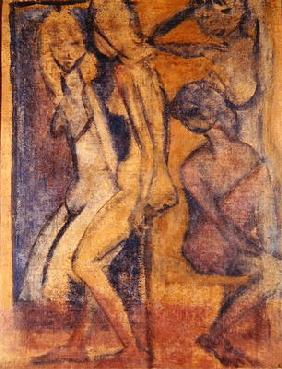 Three Girls, 1922 (oil on canvas) (see 274039 for recto) 1890
