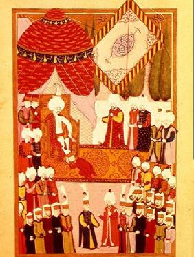 The Coronation of Sultan Selim I (1466-1520) from the 'Hunername' by Lokman