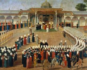 Reception at the Court of Sultan Selim III (1761-1807) at the Topkapi Palace late 18th