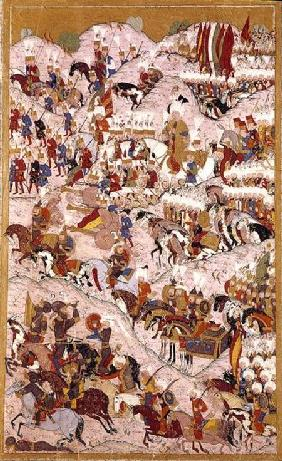 TSM H.1524 'Hunername' manuscript: Suleyman the Magnificent (1494-1566) at the Battle of Mohacs in 1 1588