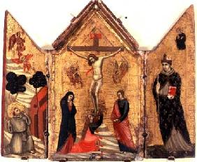 Crucifixion Triptych with St. Francis Receiving the Stigmata and St. Benedict