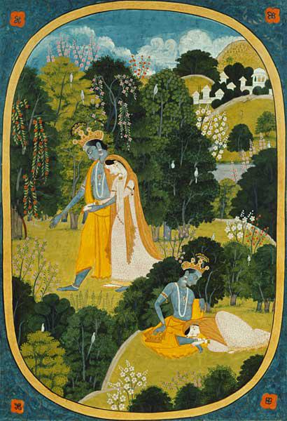 Radha and Krishna walking in a grove, Kangra, Himachal Pradesh, Pahari School, 1820-25