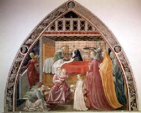 The Birth of the Virgin, from the cycle of the Lives of the Virgin and St. Stephen from the Cappella 1433-34