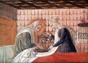 Birth of the Virgin, detail of St. Anne and an attendant 1440