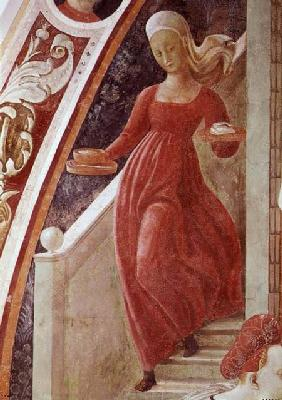 The Birth of the Virgin, detail of a maid servant descending a staircase, from the fresco cycle of T 1433-34
