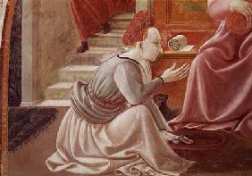 The Birth of the Virgin, detail of a seated maid servant from the fresco cycle of the Lives of the V 1433-34