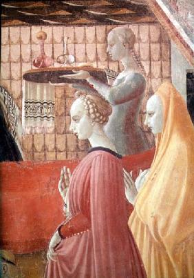 Birth of the Virgin, detail of a servant and two attendants 1440