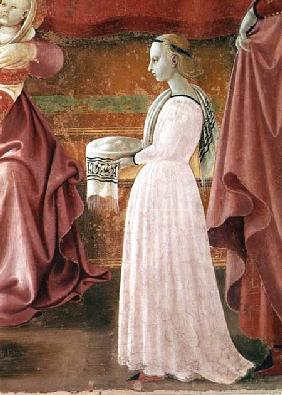 The Birth of the Virgin, detail of a standing maid servant from the fresco cycle of the Lives of the 1433-34