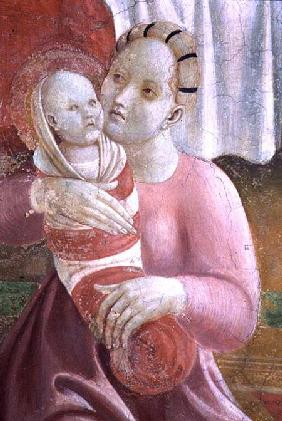 The Lives of The Virgin and St. Stephen, detail showing a mother and child, from the Cappella dell'A 1433-34