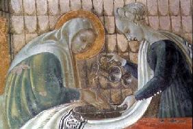 The Nativity of the Virgin, detail depicting St. Anne washing her hands, from the Chapel of the Assu