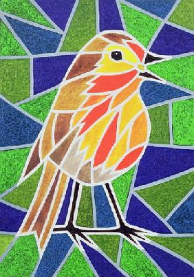 Robin on Stained Glass