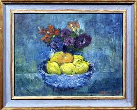 Fruit and Flowers, 1997 (oil on canvas)