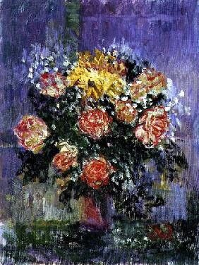 Roses and Gypsophila, 1996 (oil on canvas)