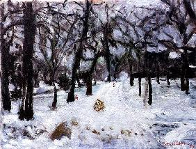 Tracks in the snow, 1994 (oil on canvas)