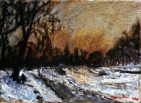 Winter Sunset, 1996 (oil on canvas)