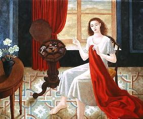Sewing (oil on canvas)