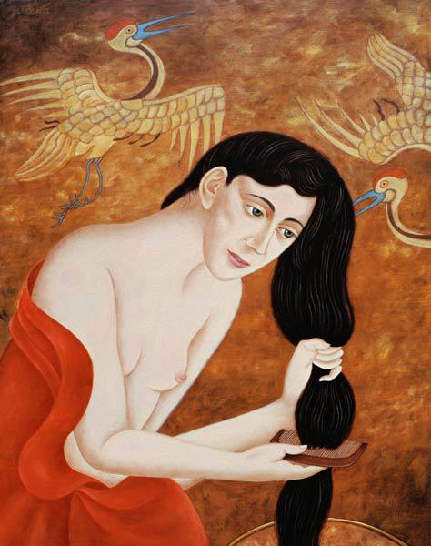 Woman combing her hair, 1999 (oil on canvas)