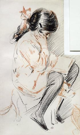 Paulette Reading Sitting on her Toy Dog (coloured pencil on paper)