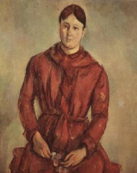 Portrait of Madame Cezanne in a Red Dress c.1890